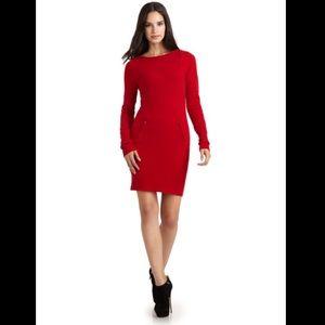 BCBG red cashmere midi dress